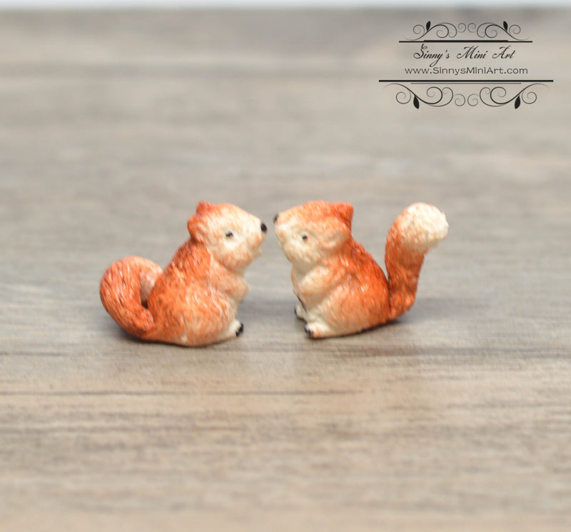 1:12 Dollhouse Miniature Squirrels, Set of 2 / Miniature Pets BD MF026
