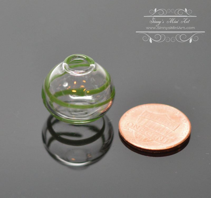 1:12 Dollhouse Miniature Green Swirled Glass Southwest Vase BD HB021
