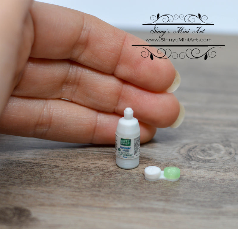 1:12 Dollhouse Miniature Contact Lens Solution and Lens Case SMA A001