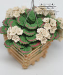 1:12 Dollhouse Miniature White Geraniums in Hanging Basket BD A615