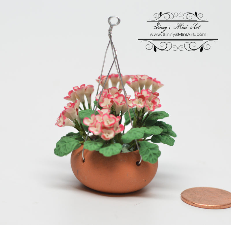 1:12 Dollhouse Miniature Pink/White Hanging Flower Basket BD A802