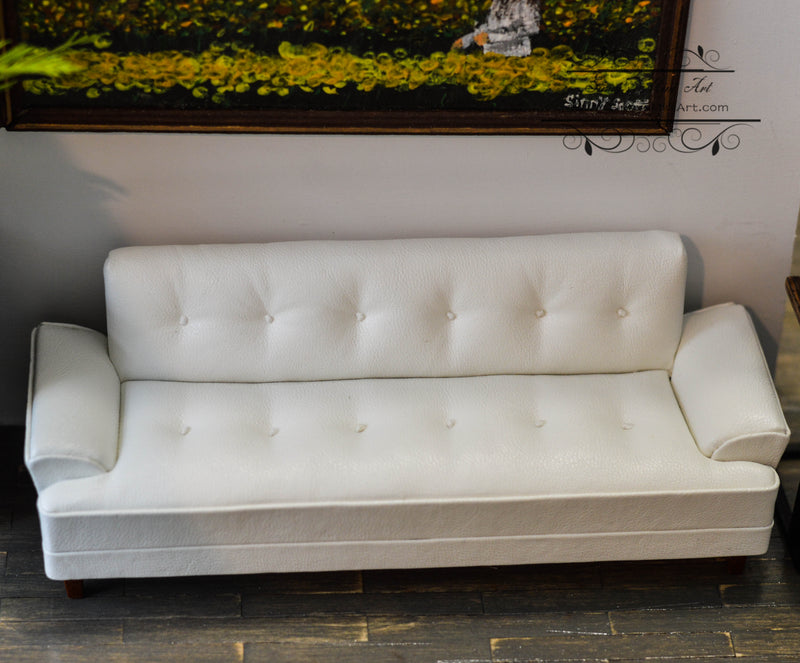 1:12 Dollhouse Miniature Leather Hoover Sofa White /Miniature Furniture AZ P6461