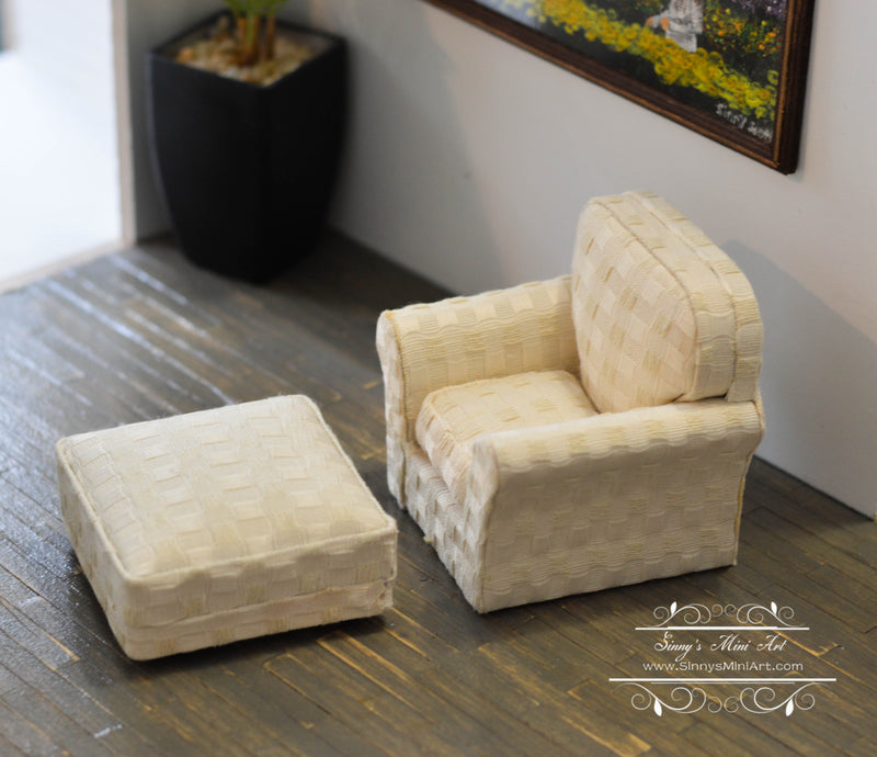 1:12 Dollhouse Miniature Modern Chair with Ottoman/ Furniture AZ P6498
