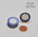 1:12 Dollhouse Miniature Blue and White Round Ceramic Plate/ Miniature Cookware HMN 662
