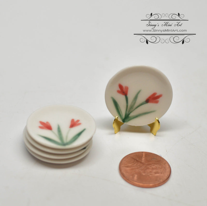 1:12 Dollhouse Miniature Round Ceramic Plate with flower/ Miniature Cookware HMN 1462