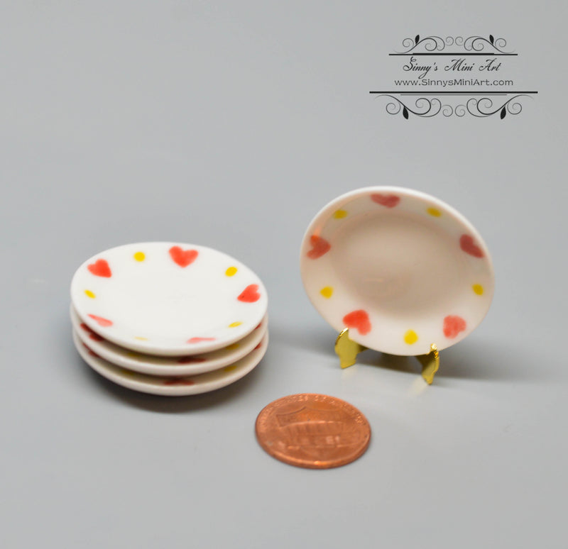 1:12 Dollhouse Miniature Round Ceramic Plate with Hearts/ Miniature Cookware HMN 1463