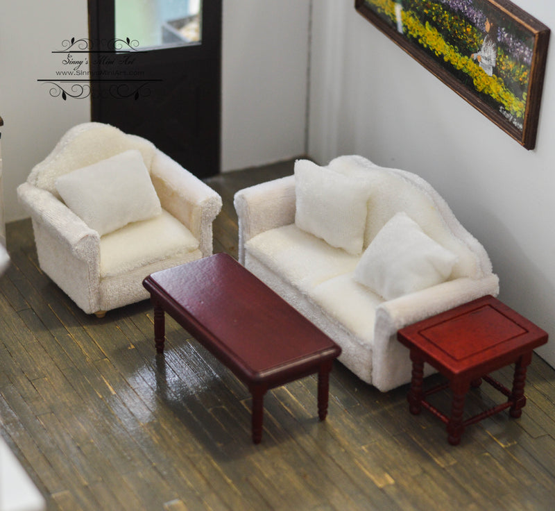 1:12 Dollhouse Miniature Living Room Sofa Table Set White /Miniature Furniture AZ GA0424