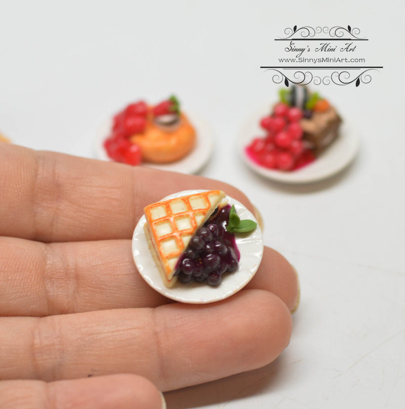 1:12 Dollhouse Miniature Fruits Deserts Cakes Pies on Plates Set  HMN 1538