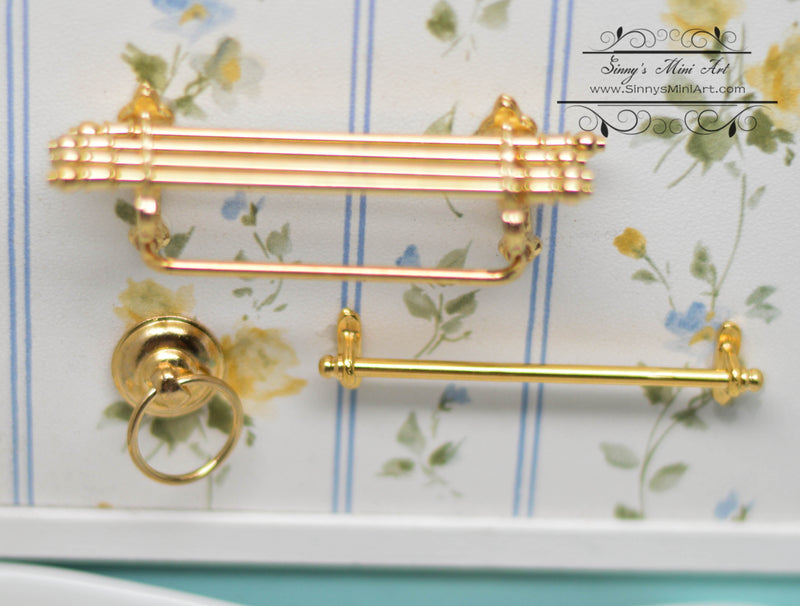 1:12 Dollhouse Miniature Bathroom Wall Shelf / Towel Rack Set,  Golden RP 1.672/6