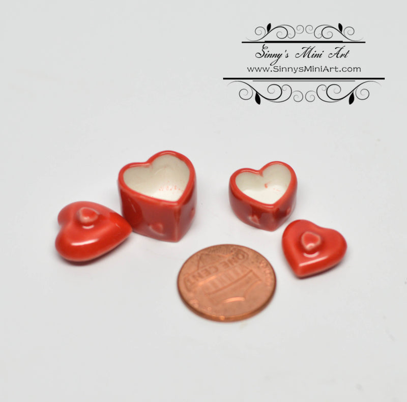 1:12 Dollhouse Miniature Heart Shaped Containers - Set of 2 BD B419