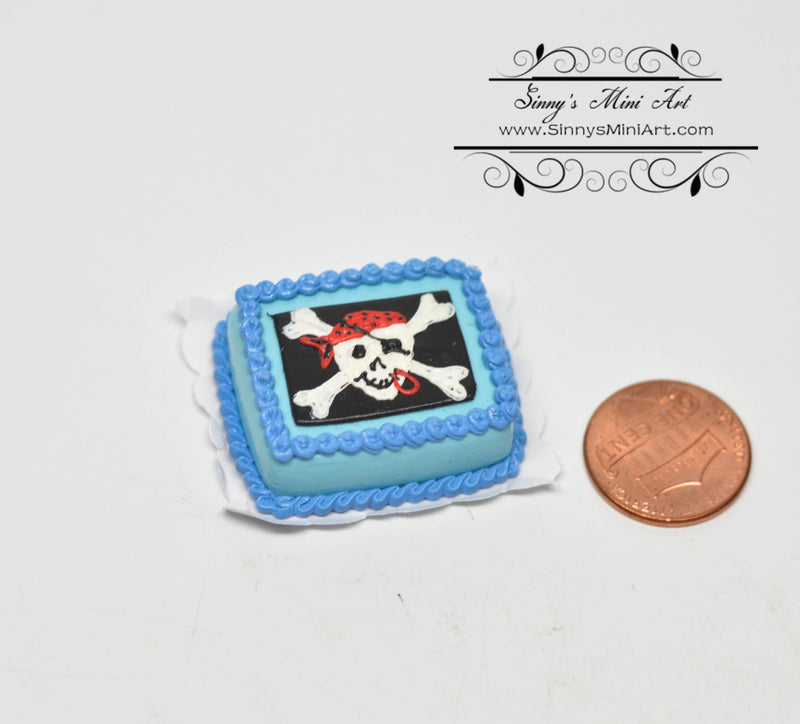 1:12 Dollhouse Miniature Pirate Skull and Crossbone Sheet Cake BD K2307