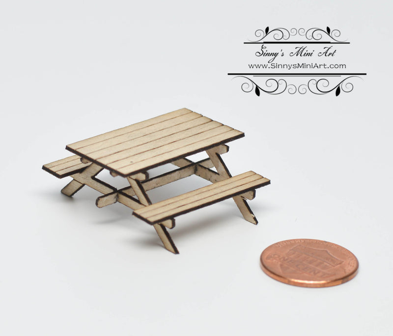 1:48 Dollhouse Miniature Picnic Table Kit/ Quarter Inch Scale Table SMA Q001