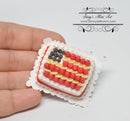 1:12 Dollhouse Miniature American Flag Sheet Cake with Fresh Fruit BD K2304