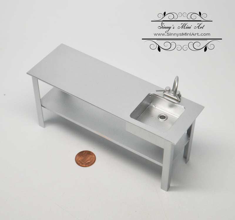1:12 Dollhouse Miniature Prep Bench with Sink Restaurant DMUK FC31