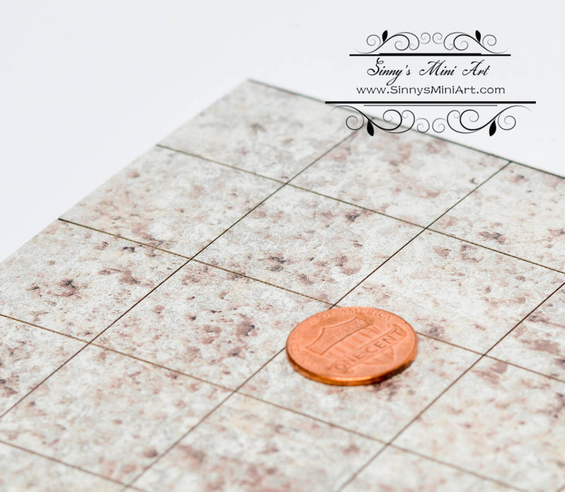 1:12 Dollhouse Miniature Granite Flooring, White Juparana (Formica) / Dollhouse Miniature Floor AM FORM10