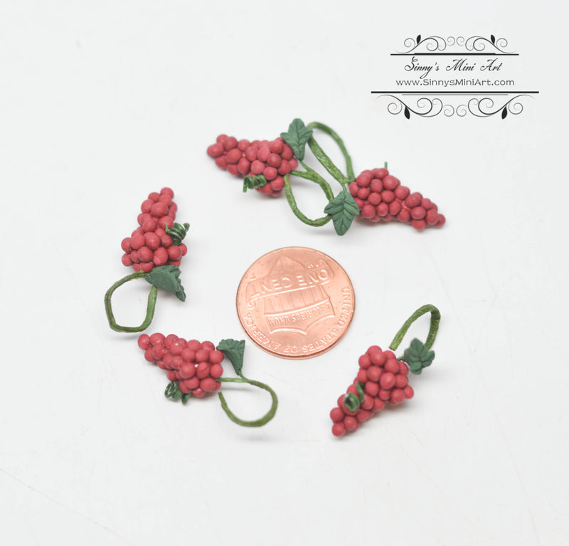 1:12 Dollhouse Miniature Five Bunches of Miniature Red Grapes D193