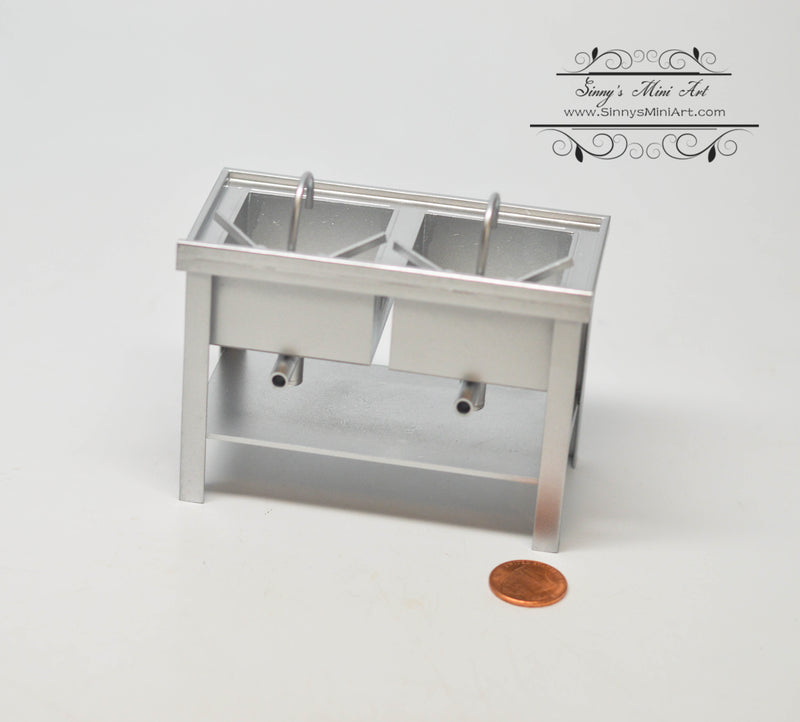1:12 Dollhouse Miniature Double Commercial Sink DMUK M245