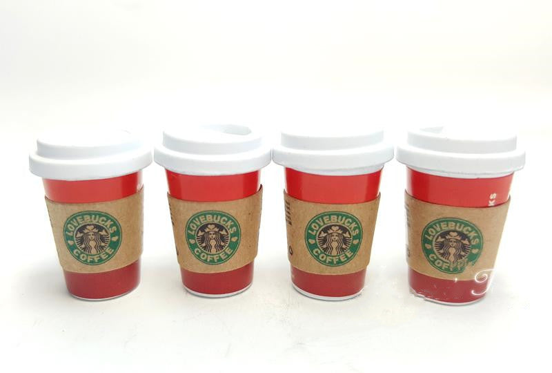 1:6 Dollhouse Miniature Christmas Star Bucks 4 pc Set/ Doll Miniature Coffee B133-2