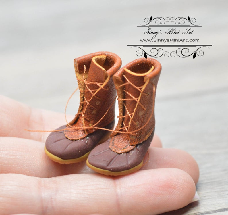 1:12 Dollhouse Miniature Leather Hunting Boots/Miniature Boots/ Miniature Shoes ATTH F-2
