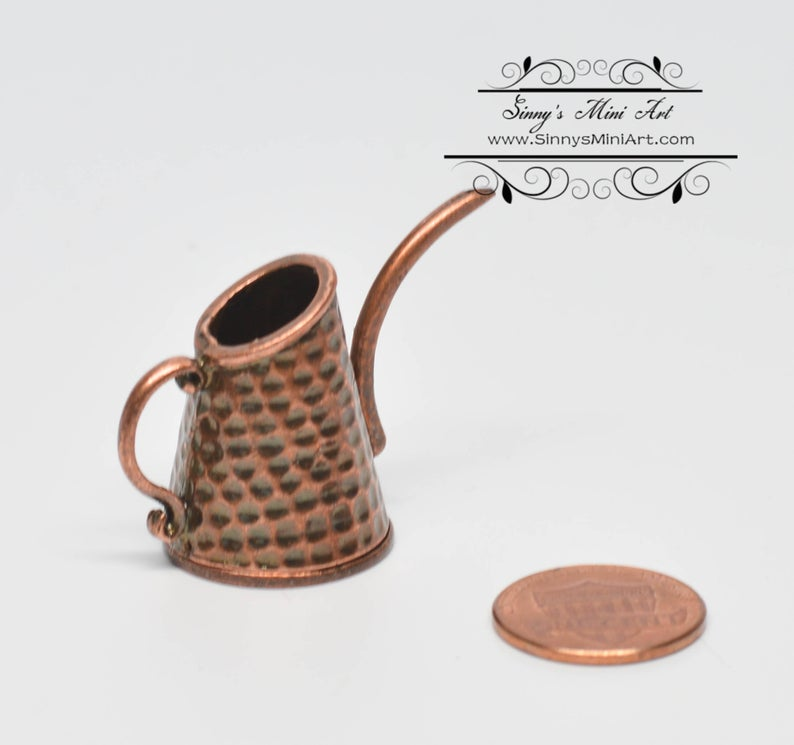 1:12 Dollhouse Miniature Antique Copper Watering Can/ Miniature garden AZ S