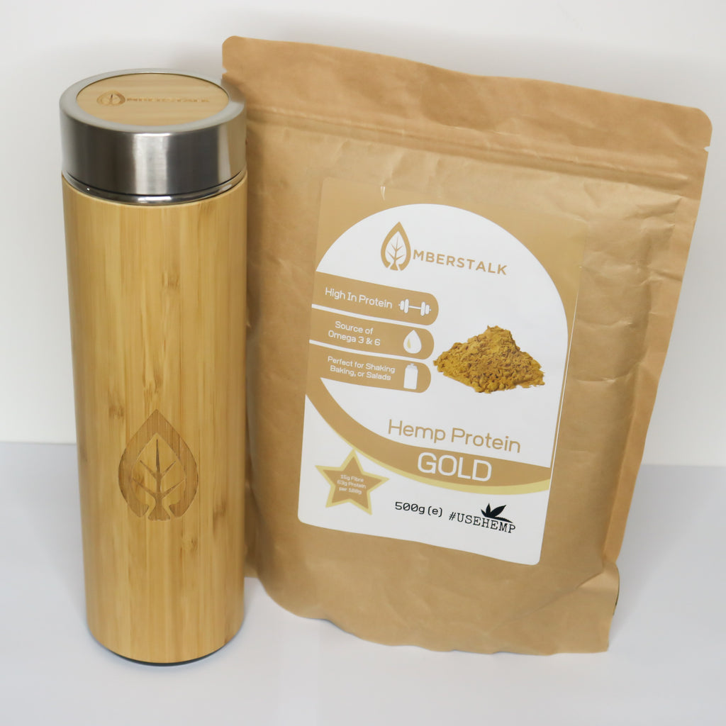 Hemp Protein + Bamboo Water Bottle Bundle