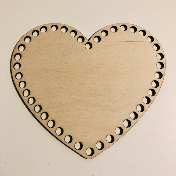 Heart Wooden Basket Base