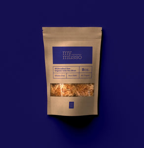 My Musso - Irish Sea Moss 8oz Bag on Blue Brand Color Background