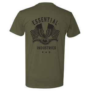 "NEW ""Essential Industries"" Support the 2A - Mens OD Green & Black T-Shirt"