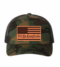 "Load image into Gallery viewer, NEW ""We The Essentials""  Camo Trucker Hat with Leather Patch"