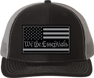"NEW ""We The Essentials"" Black and Grey Trucker Hat with Grey Patch"