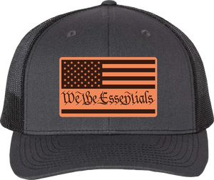 "NEW ""We The Essentials"" Grey and Black Trucker Hat with Leather Patch"