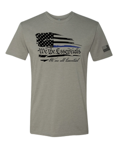 """We The Essentials"" Standard Issue Blue Line - Mens  Grey Short Sleeve T Shirt"