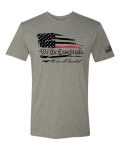 """We The Essentials"" Standard Issue Red Line - Mens Grey Short Sleeve T Shirt"