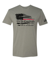 "Load image into Gallery viewer, ""We The Essentials"" Standard Issue Red Line - Mens Grey Short Sleeve T Shirt"