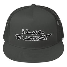 Load image into Gallery viewer, i Love To BOOST (Stacked) White Trucker Cap