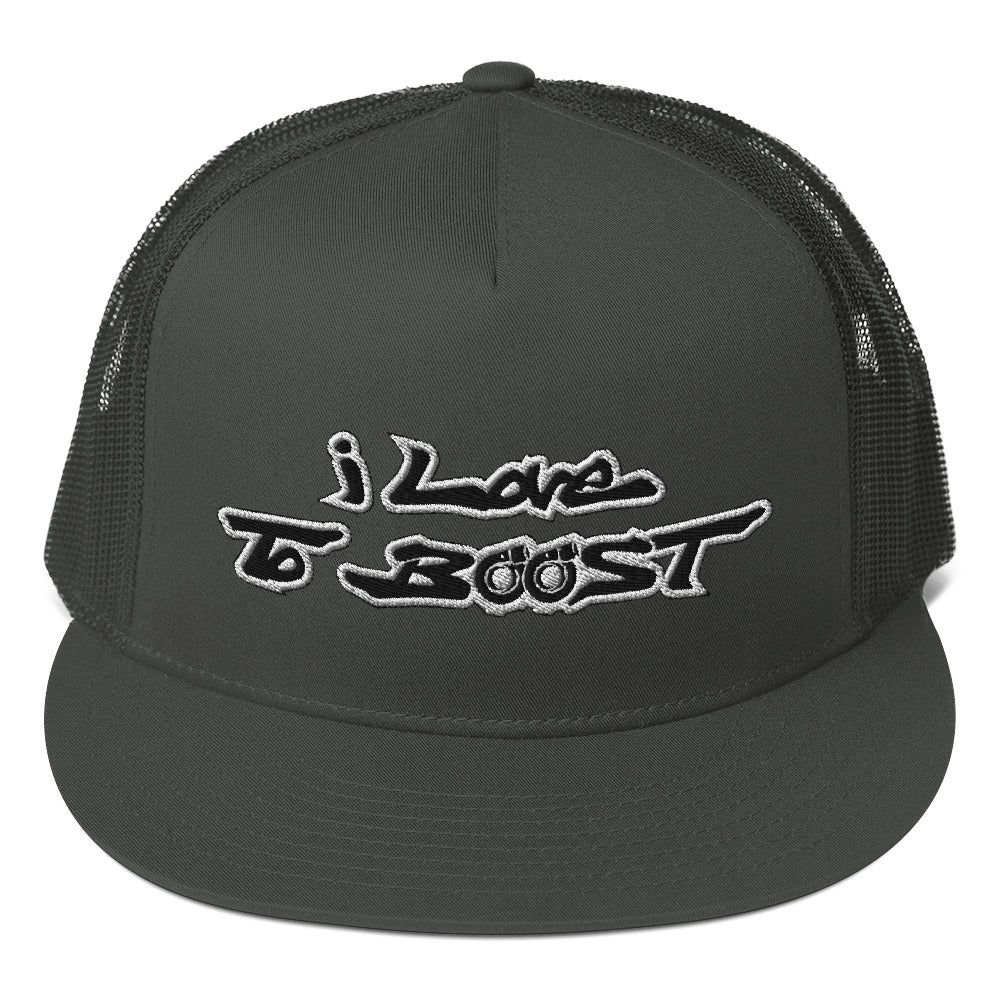 i Love To BOOST (Stacked) White Trucker Cap