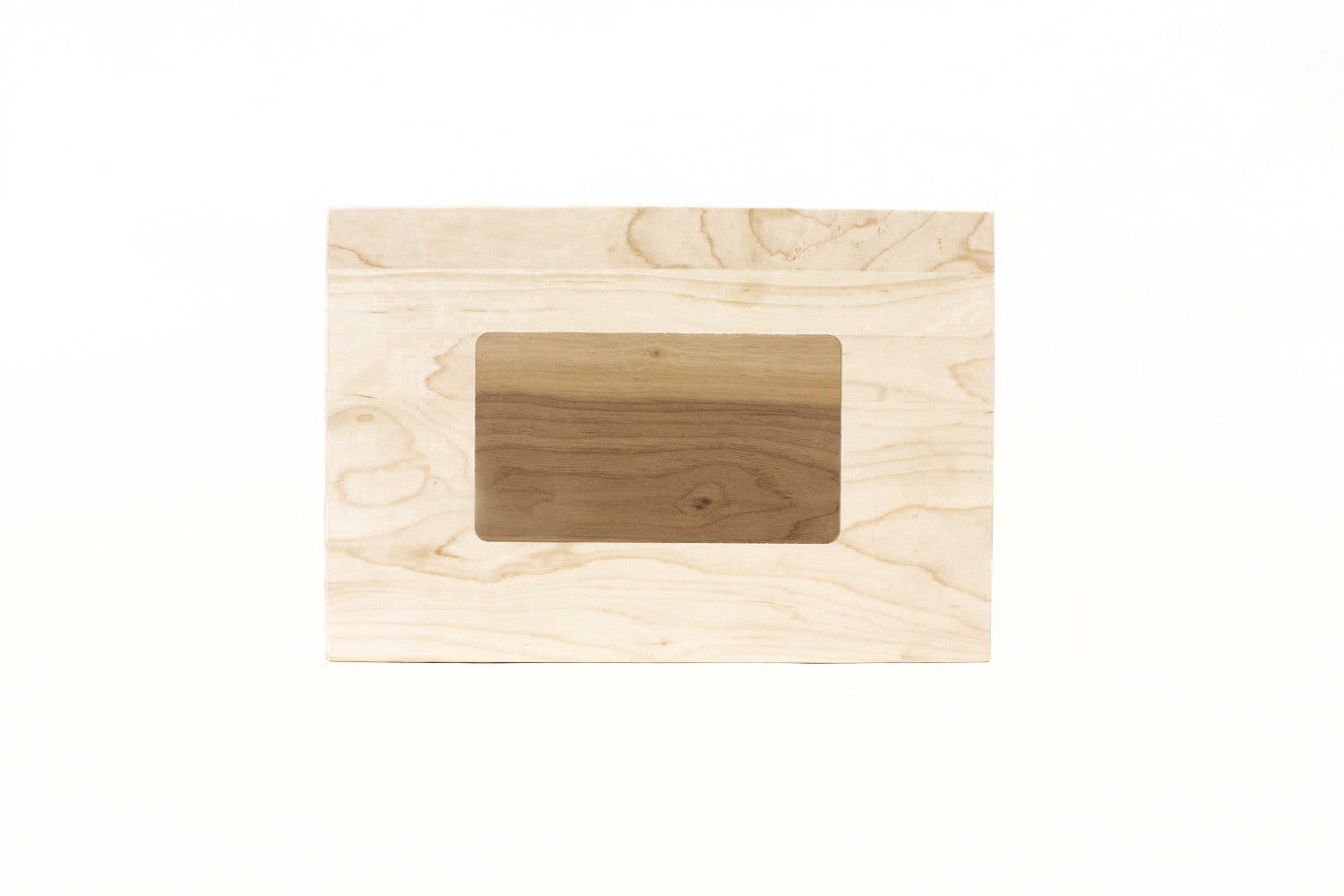 A Display Board Made From Reclaimed Maple And Walnut Wood With Solid Inlay Of The