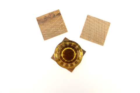 A set of 3 coasters handmade in our workshop in Los Angeles from 100% reclaimed oak barn siding.