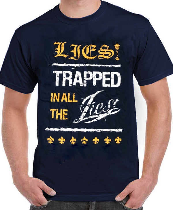 "LIES! T-shirt ""Trapped in all the lies"" - Dark blue"