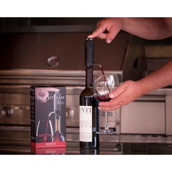 Cork Pops Inc - VinOstream  On Bottle Aerator and Non Drip Dispenser - Brik + Clik