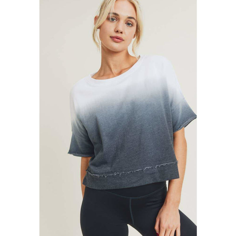 Mono B - Dip-Dye Ombre Drop-Sleeve Crop Top
