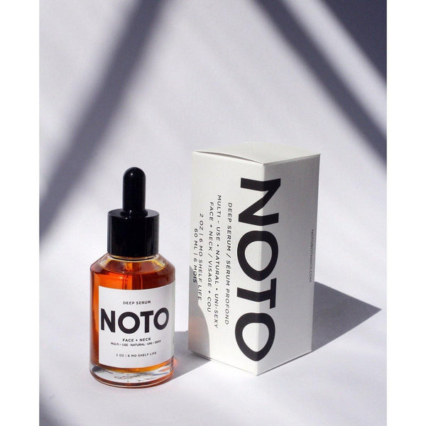 bottle of noto deep serum next to packaging box