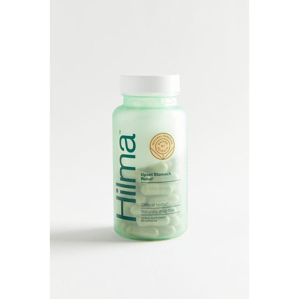 bottle of hilma upset stomach relief herbal supplement