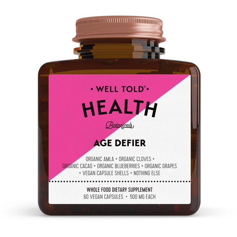 bottle of well told health age defier whole food dietary supplement front