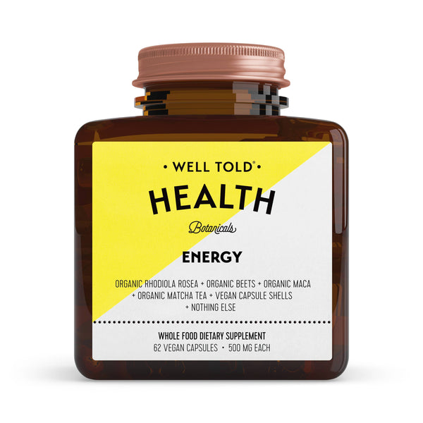 bottle of well told health energy whole food dietary supplement front