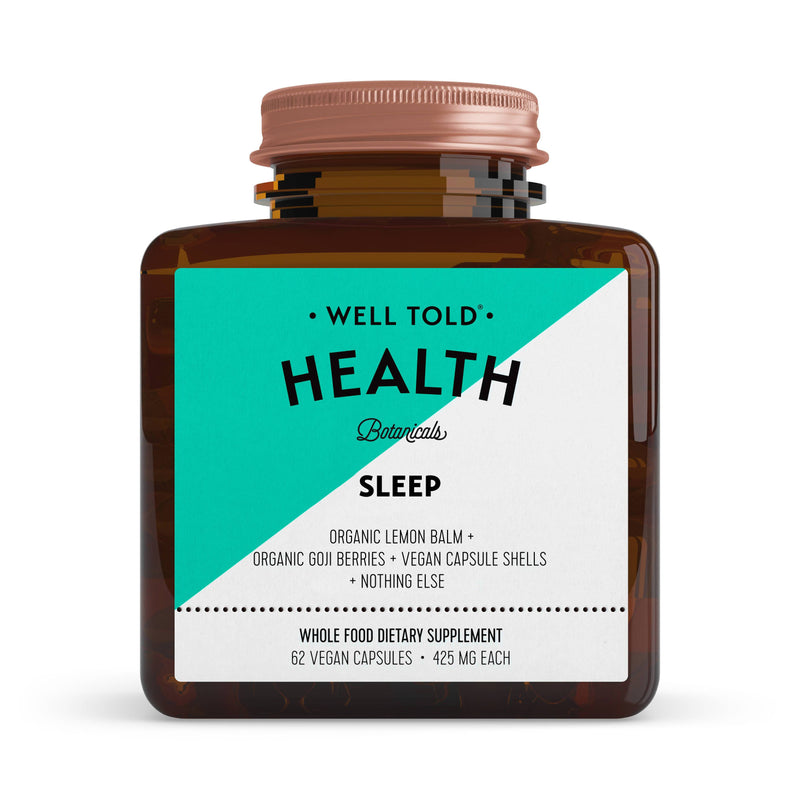 bottle of well told health sleep whole food dietary supplement front