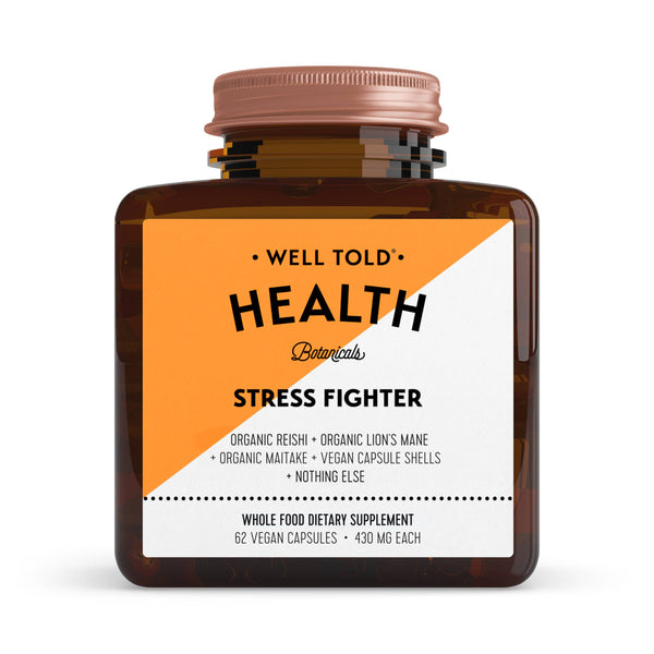 bottle of well told health stress fighter whole food dietary supplement front