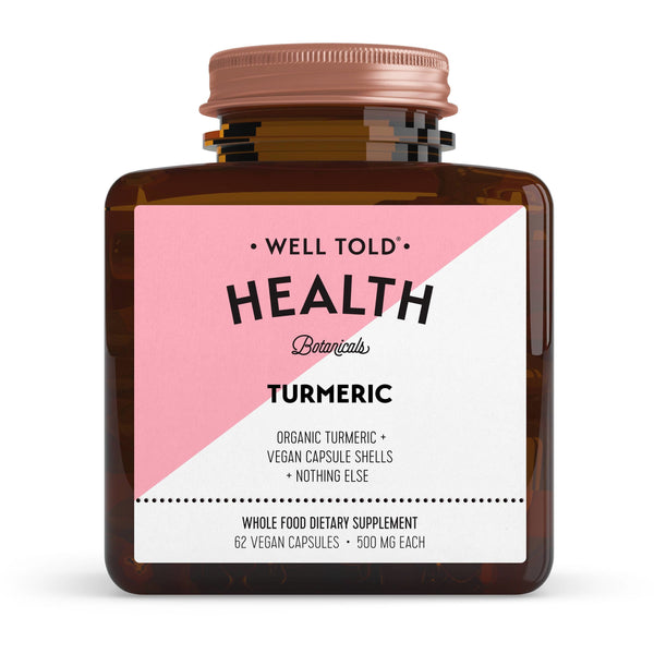 bottle of well told health turmeric whole food dietary supplement front