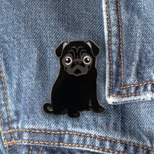 Load image into Gallery viewer, Black Pug Hard Enamel Pin