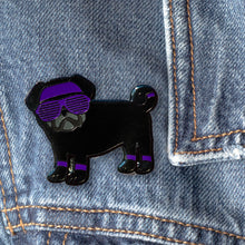 Load image into Gallery viewer, 80s Black Pug Hard Enamel Pin